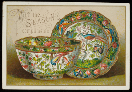 Embossed postcard of decorated bowl and plate, Georgetown, Mass., dated April 7, 1917