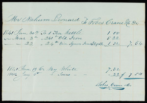 Billhead for Fobes Crane Co., location unknown, dated 1841-1842