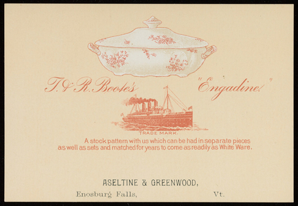 Trade card for Aseltine & Greenwood, dealers in dry goods, groceries, boots and shoes, crockery, glassware and china, Enosburg Falls, Vermont, 1895