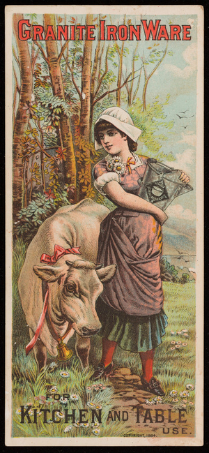 Trade card for Granite Iron Ware for kitchen and table use, location unknown, 1884