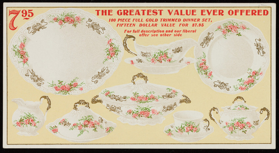 Trade card for Sears, Roebuck & Co., dinner sets, glassware, lamps, Chicago, Illinois, undated