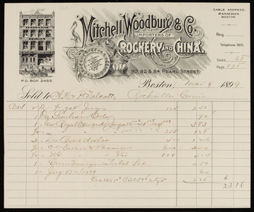 Billhead for Mitchell, Woodbury & Co., importers of crockery and china, 80, 82 & 84 Pearl Street, Boston, Mass., dated March 9, 1899