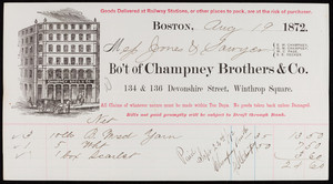 Billhead for Champney Brothers & Co., textiles, 134 & 136 Devonshire Street, Winthrop Square, Boston, Mass., dated August 19, 1872