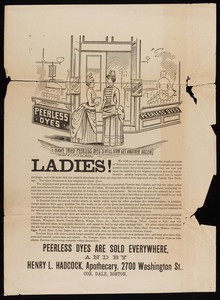 Circulars for Peerless Dyes, location unknown, 1880s