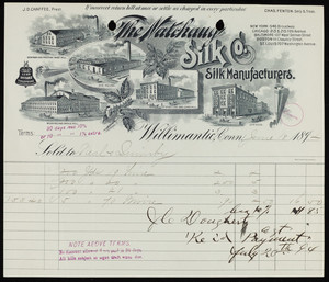 Billhead for The Natchaug Silk Co., silk manufacturers, Willimantic, Connecticut, dated June 18, 1894
