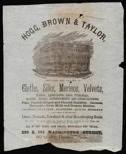Wrapping paper for Hogg, Brown & Taylor, importers and dealers in cloths, silks, merinos, velvets, 299 & 301 Washington Street, 60 to 70 Temple Place, Boston, Mass., undated