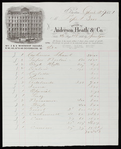Billhead for Anderson, Heath & Co., Nos. 5 & 6 Winthrop Square & 141, 145, 147 & 149 Devonshire Street, Boston, Mass., dated April 27, 1871
