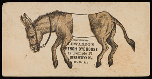 Trade card for Lewando's French Dye House, 17 Temple Place, Boston, Mass., undated