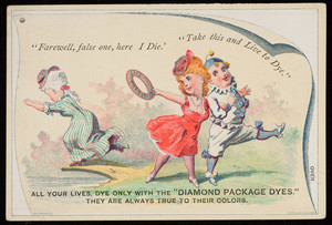 Trade card for The Diamond Package Dyes, Wells, Richardson & Co., Burlington, Vermont, undated