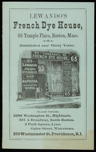 Lewando's French Dye House, 65 Temple Place, Boston, Mass., undated