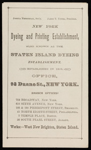 Brochure for the New York Dyeing and Printing Establishment, 98 Duane Street, New York, New York, undated