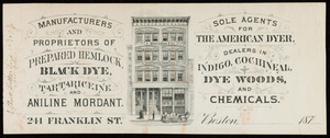 Letterhead for F. Woodman & Co., dyestuffs & chemicals, 241 Franklin Street, Boston, Mass., 1870s