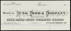 Billhead for Russ, Cobb & Company, manufacturers of fine hand-knit worsted goods, No. 19 Summer Street, Boston, Mass., 1800s
