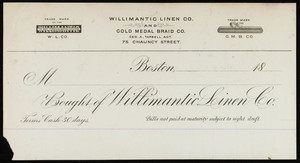 Billhead for the Willimantic Linen Co., Willimantic Linen Co. and Gold Medal Braid Co., 75 Chauncy Street, Boston, Mass., 1800s