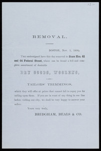 Handbill for Bridgham, Beals & Co., dry goods, woolens and tailors' trimmings, Nos. 62 and 64 Federal Street, Boston, Mass., November 1, 1856