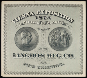 Advertisement for the Langdon Mfg. Co., fine shirting, location unknown, 1873