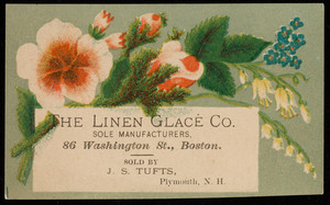 Trade card for The Linen Glacé Co., sole manufacturers of the world's starch polish, 86 Washington Street, Boston, Mass., undated
