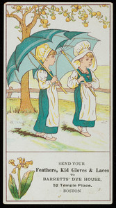 Trade card for Barretts' Dye House, 52 Temple Place, Boston, Mass., undated
