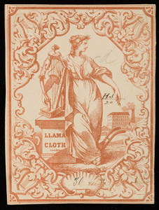 Label for llama cloth, cotton manufacturer, location unknown, undated