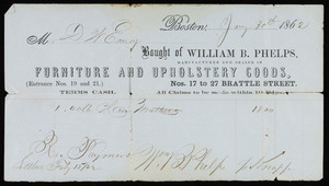 Billhead for William B. Phelps, manufacturer and dealer in furniture and upholstery goods, Nos. 17 to 27 Brattle Street, Boston, Mass., dated January 30, 1862