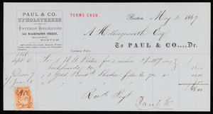 Billhead for Paul & Co., Dr., upholsterers and interior decorators, 354 Washington Street, Boston, Mass., dated May 10, 1867