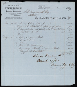 Billhead for James Paul & Co., Dr., upholsterers and interior decorators, 354 Washington Street, Boston, Mass., dated November 23, 1859