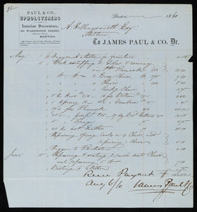 Billhead for James Paul & Co., Dr., upholsterers and interior decorators, 354 Washington Street, Boston, Mass., dated May 8, 1860