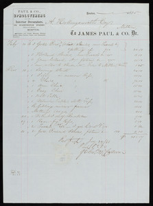 Billhead for James Paul & Co., Dr., upholsterers and interior decorators, 354 Washington Street, Boston, Mass., dated February 20, 1865