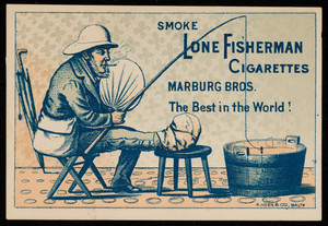 Trade card for Lone Fisherman Cigarettes, Marburg Bros., Baltimore, Maryland, undated