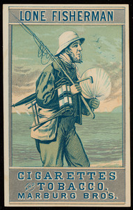 Trade card for Lone Fisherman Cigarettes and Tobacco, Marburg Bros., Baltimore, Maryland, undated