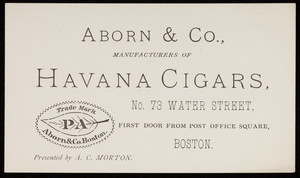 Trade card for Aborn & Co., manufacturers of Havana cigars, No. 73 Water Street, Boston, Mass., undated