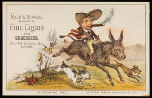 Trade card for Nash & Bowers, dealers in fine cigars and groceries, No. 40 School Street, Boston, Mass., 1880