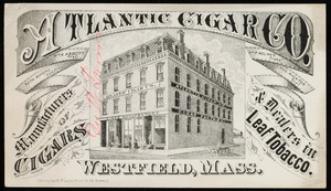 Trade card for the Atlantic Cigar Co., manufacturers of cigars & dealers in leaf tobacco, Westfield, Mass., undated
