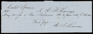 Billhead for Thomas, tobacco, location unknown, dated May 10, 1857
