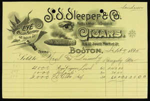 Billhead for S.S. Sleeper & Co., manufacturers & wholesale dealers in cigars, 11 & 12 South Market Street, Boston, Mass., dated September 7, 1895