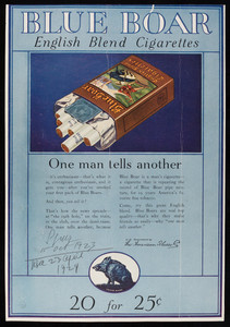 Advertisement for Blue Boar English Blend Cigarettes, The American Tobacco Company, undated