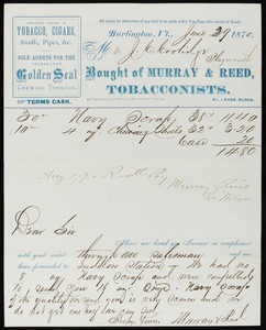 Billhead for Murray & Reed, tobacconists, No. 1 Bank Block, Burlington, Vermont, dated June 29, 1870