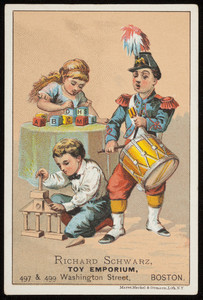 Trade card for Richard Schwarz, toy emporium, 497 & 499 Washington Street, Boston, Mass., undated
