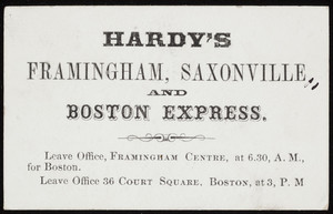 Trade card for Hardy's Framingham, Saxonville and Boston Express, location unknown, undated