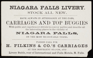Trade card for Niagara Falls Livery, Niagara Falls, New York, undated