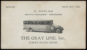 Business card for H. Caplan, The Gray Line, Inc., Copley Plaza Hotel, Boston, Mass., undated