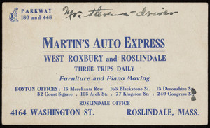 Trade card for Martin's Auto Express, 4164 Washington Street, Roslindale, Mass., undated