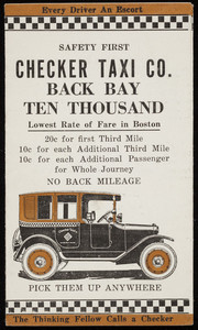 Brochure for the Checker Taxi Co., Back Bay ten thousand, Boston, Mass., undated