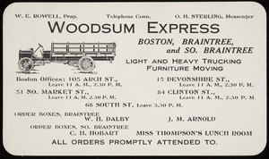 Trade card for the Woodsum Express, Boston, Braintree and So. Braintree, 105 Arch Street, Boston, Mass., undated