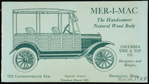 Mer-I-Mac, the handsomest natural wood body, Columbia Tire & Top Co., designers and manfrs., 922 Commonwealth Avenue, Brookline, Mass., 1924
