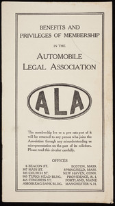 Benefits and privileges of membership in the Automobile Legal Association, 6 Beacon Street, Boston, Mass., undated