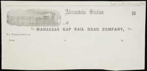 Billhead for the Manassas Gap Rail Road Company, Alexandria Station, Virginia, 1800s