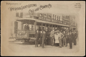 Envelope for the Seeing Boston Cars, American Sight-Seeing Car and Coach Co., 15 Park Square, Boston, Mass., undated