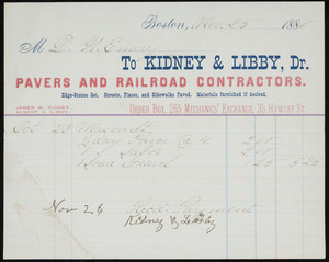 Billhead for Kidney & Libby, Dr., pavers and railroad contractors, 35 Hawley Street, Boston, Mass., dated November 25, 1880