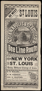 Advertisement for the Indianapolis & St. Louis R.R. Bee Line Route, Rand, McNally & Co., Chicago, Illinois, 1880